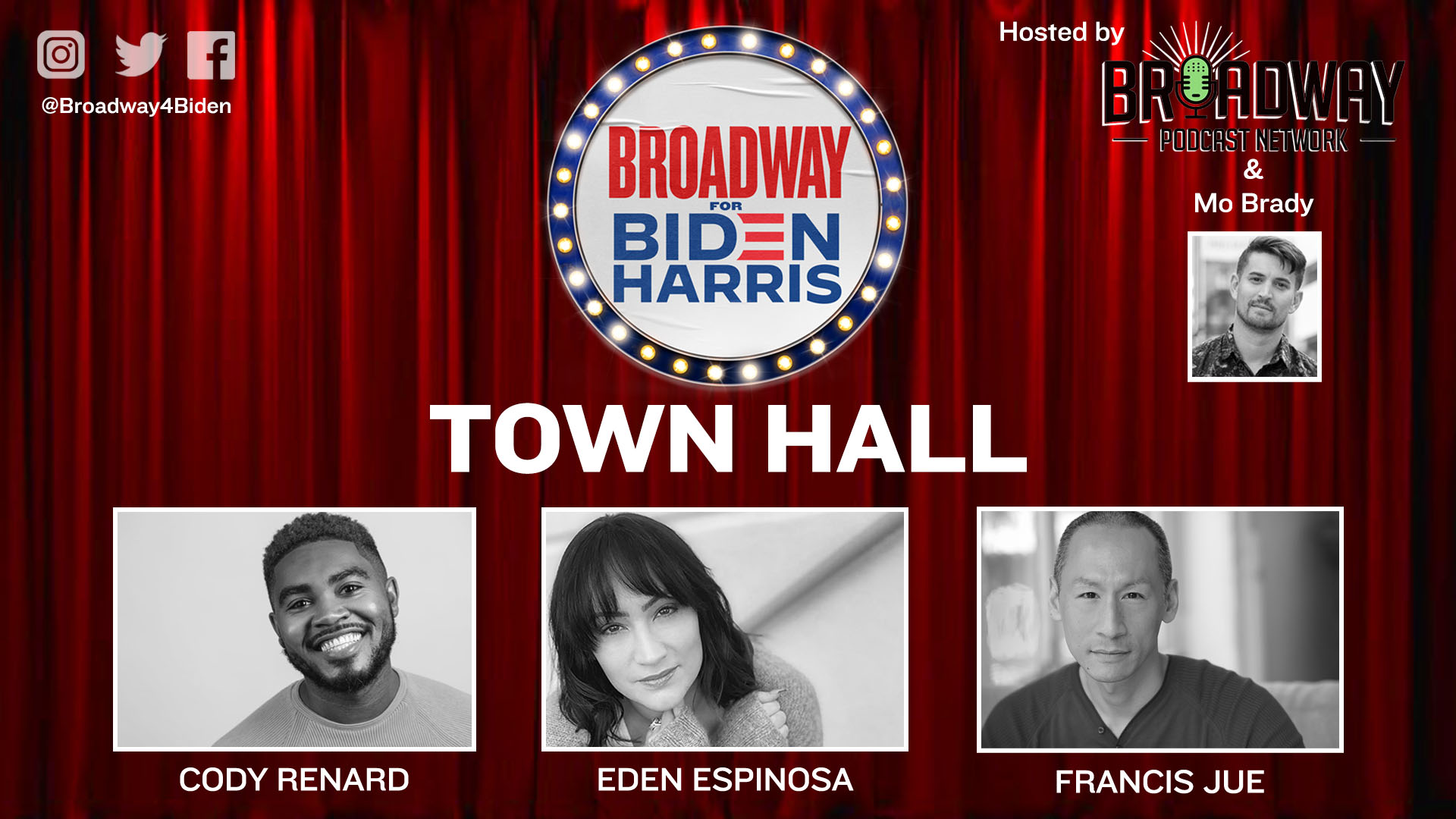 News Item: Broadway for Biden's first Town Hall Event hosted by the Broadway Podcast Network