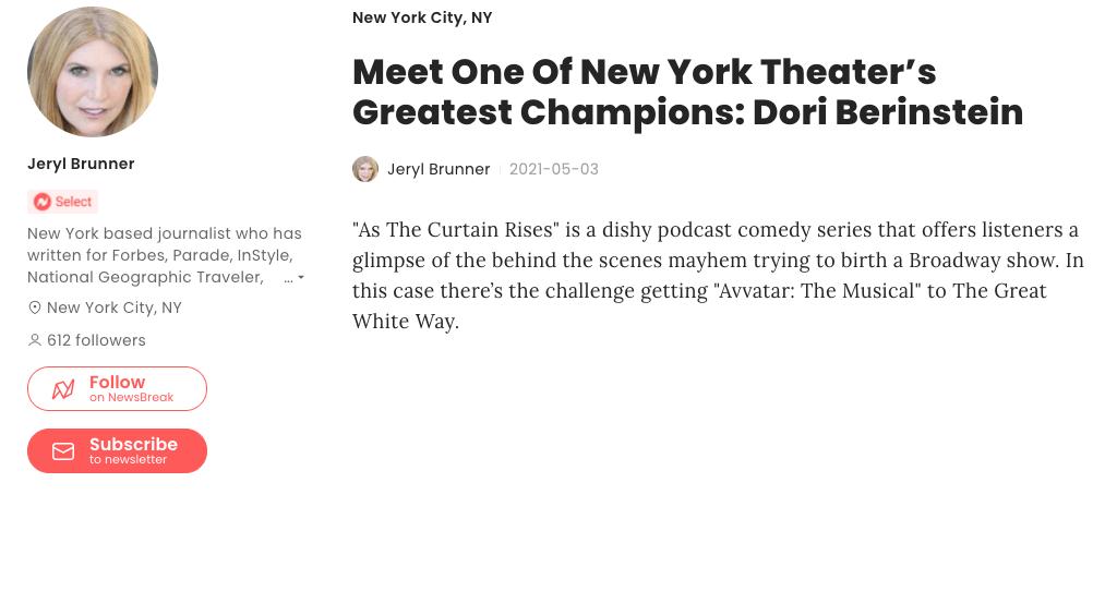 Dori Berinstein, One of Broadway's Greatest Champions